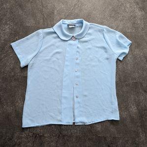 Vintage pastel blue button up sheer t-shirt